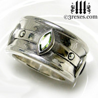 moorish marquise gothic wedding ring with green peridot stones