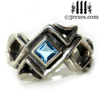 celtic ring with blue topaz stone .925 sterling silver