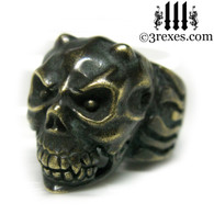 brass gargoyle devil ring with closed jaw