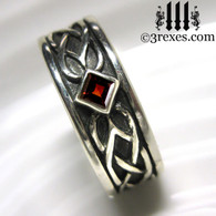 925 sterling silver celtic knot soul ring with red garnet stone