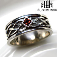 mens celtic knot silver soul ring with red garnet stone