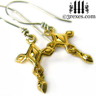 mini renaissance gold cross earrings