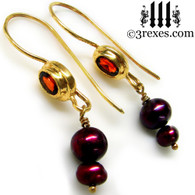 gold pearl earrings with garnets
