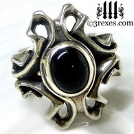 gothic silver ring with black onyx