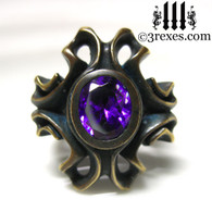 empress vampire brass ring with japanese amethyst faceted stone