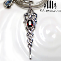 925 sterling silver dripping celtic princess necklace with garnet stone