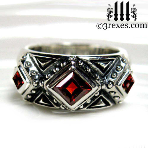 silver gothic wedding ring with garnet stones 925 sterling silver - Goth Wedding Rings