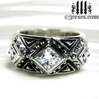 silver gothic wedding ring with white cz stones .925 sterling silver