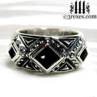 silver gothic wedding ring with black onyx cabochon stones .925 sterling silver
