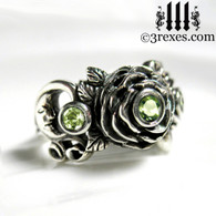 gothic silver rose moon spider ring with green peridot faceted stone