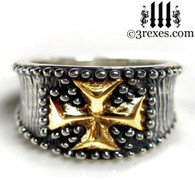 medieval iron cross ring .925 sterling silver with gold cross