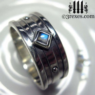 silver gothic wedding ring with labradorite stone