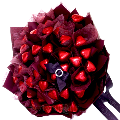 chocolate hearts edible bouquet 48 gold coast delivery valentine