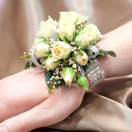 Ivory Spray Rose Wrist Corsage with DIamante wrist band