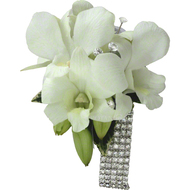 Corsage of White Orchids diamante wrist band.