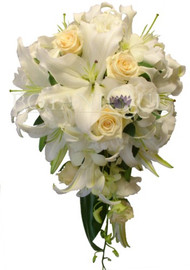 Medium Oriental Lily, Rose, Orchid, Lisianthus Teardrop Wedding Bouquet