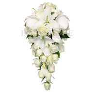 Oriental Lily, Calla Lily, Rose Teardrop Wedding Bouquet Large