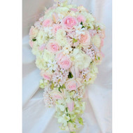 Extra Large Pretty Pink Wedding Bouquet roses, orchids, hyacinths, tulips and gardenia, teardrop