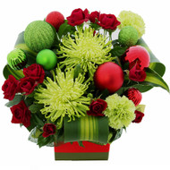 Elf Christmas Arrangement of Disbuds, Roses and Carnations