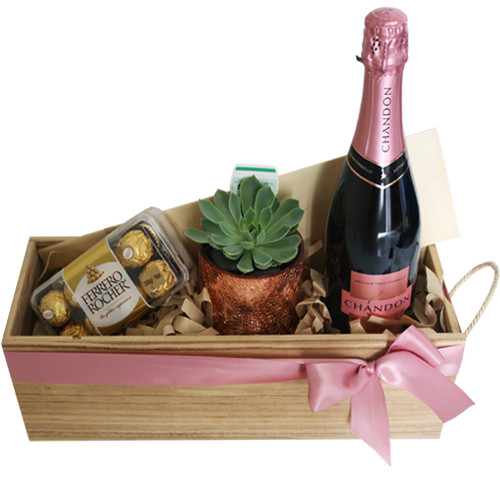 Rosie Hamper with Chandon Rose, ferrero rocher and succulent plant
