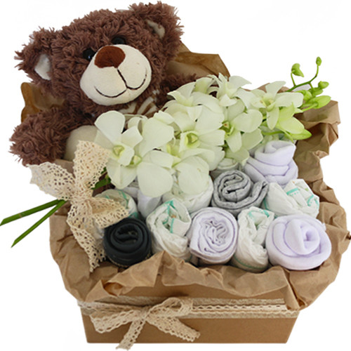 Baby gift hamper gold coast botanique florist hamish new baby hamper with teddy flowers and baby goods negle Gallery