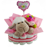 Sheepy Pink new baby hamper with nappies, sheep toy, rattle and stick balloon