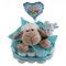 Sheepy Blue new baby hamper with nappies, sheep toy, rattle and stick balloon
