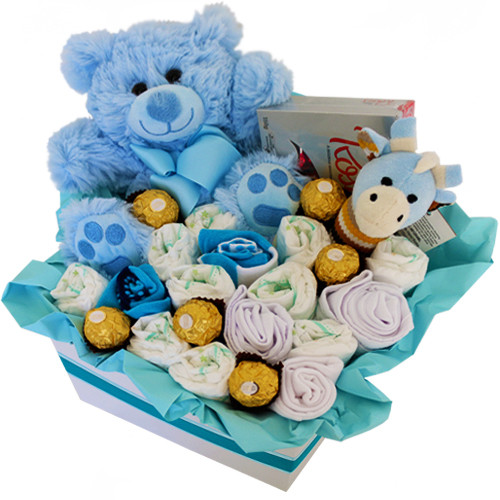 Hammy Blue hamper with chocolates, teddy and baby goods