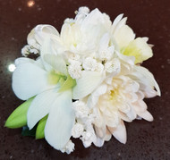Kristy Corsage - White Chrysanthemums and orchids