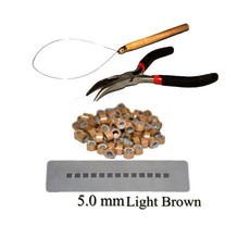 Hair Extension Silicone Micro Rings Loop Kit Light Brown 200 Silicone Rings 5mm