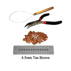 Hair Extension Silicone Micro Rings Loop Kit Tan Brown 200 Silicone Rings 4.5mm