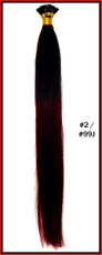 "20"" Stick Tip Human Hair Extension Reverse Dip Dye #2/#99J"