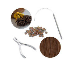 Hair Extension Starter Kit includes extensions, Silicone Rings, Stainless Steel Pliers and a Stainless Steel Pulling Loop