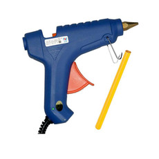 Large blue glue gun with one amber glue stick