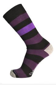 Mens Stripy Socks (black/purple/aubergine pattern).