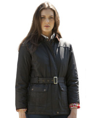 Womens Wax Jacket (5050) motorcycle style with belt, by Vedoneire of Ireland.