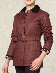 Ladies Wax Jacket (5050) Burgundy Maroon Dark Red - by Vedoneire of Ireland - womens biker style waxed coat