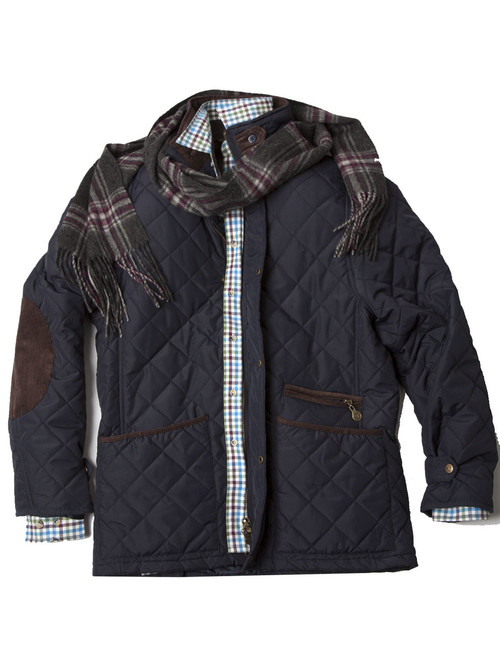 Mens Quilted Fleece Lined Jacket (3059) Navy - by Vedoneire of ...