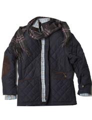 Mens Quilted Fleece Lined Jacket (3059) Navy - by Vedoneire of Ireland - dark blue quilt coat
