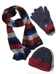 Men's Hat Glove Scarf set (3022) Navy Denim Wool