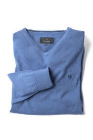 Men's Fine Gauge Cotton V-Neck Jumper (4200) Blue Melange