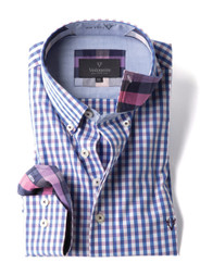 Men's Casual Long Sleeve Shirt (2295) Purple Beach