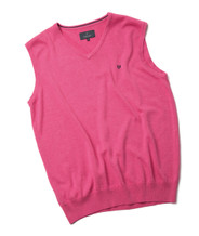 Men's Fine Gauge Cotton V-Neck Sleeveless Jumper (4220) Persian Pink