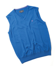 Men's Fine Gauge Cotton V-Neck Sleeveless Jumper (4220) Bold Blue
