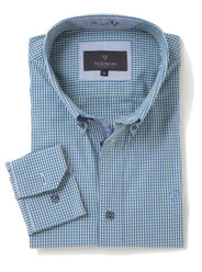 Mens Casual Long Sleeve Peach Finish Shirt (2295 Firefly) blue white yellow beige check