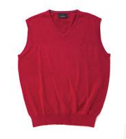 Men's Fine Gauge Cotton V-Neck Sleeveless Jumper (4220) Sangria