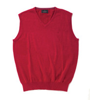 Men's Fine Gauge Cotton V-Neck Sleeveless Jumper (4220 Sangria) pink