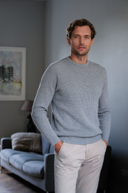 Mens textured light grey sweater jumper in square waffle pattern