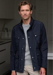 Men's Water Resistant Casual Jacket (3097 Navy) raincoat style blazer coat
