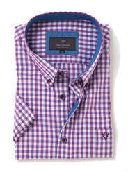 Men's Soft Wash Cotton Short Sleeve Check Shirt (2279 Boysenberry) by Vedoneire of Ireland